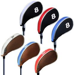 Andux 10 pcs Golf Club Iron Head Covers Driver Zipper Headco