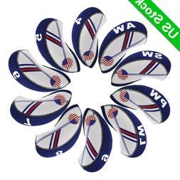 10pcs A Set Golf Iron Head Covers Neoprene 4-LW Blue&White f