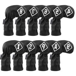 10pcs Golf Black Iron Head Covers Headcover For Taylormade C