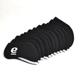 GOOACTION 10pcs Golf Iron Club Headcovers Black Neoprene Uni