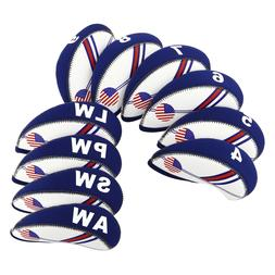 10pcs Golf Iron Covers Headcovers USA Flag 4#-Lw For Taylorm