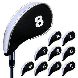 Andux 10pcs Golf Iron Putter Head Covers Headcover Set with