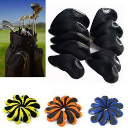 10pcs/set Golf Neck Iron Head Covers Protector Club Headcove