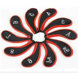 10Pcs/set Red/Black Neoprene Golf Club Iron Head Covers with