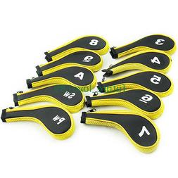 10PCS Yellow Zipper Golf Iron Headcovers Covers For Mizuno T