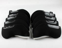 10PCS Black Neoprene Golf Iron Covers HeadCover For Mizuno C