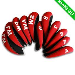 11pcs A Set Golf Iron Head Covers Neoprene HeadCovers 4-LW R