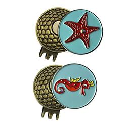 PINMEI 2 Sets of Golf Ball Marker with Magnetic Golf Hat Cli