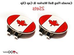 2sets A99 Golf Canada Flag Golf Ball Marker & Cap Clip Hat V