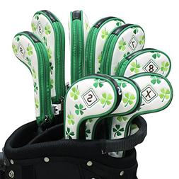 Craftsman Golf 9pcs  Clover Shamrock White Golf Iron Headcov