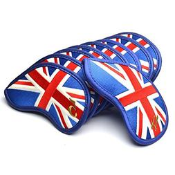 GOOACTION 9Pcs/Set British UK Flag Golf Iron Head Covers Uni