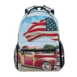 American Flag With Vintage Car Unisex Rucksack Satchel Casua