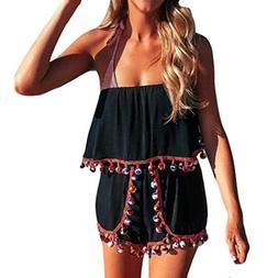 FEITONG Bohemia Womens Off Shoulder Strapless Playsuit Beach
