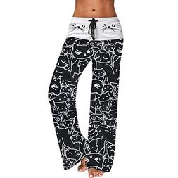 FEITONG Women Casual Cat Prints Drawstring Pants Leggings