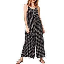 FEITONG Women Dot Print Sleeveless Jumpsuit Casual Clubwear