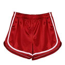 FEITONG Women High Waist Yoga Sport Pants Shorts Shiny Leggi