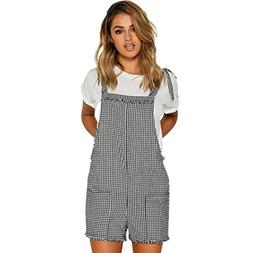 FEITONG Women Lattice/Solid Jumpsuits Overalls Shorts Pants