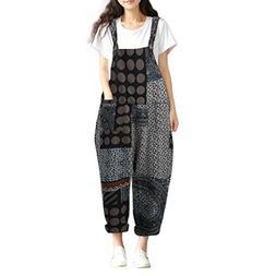 FEITONG Women Print Bohe Loose Bib Pants Dungarees Cotton Ov