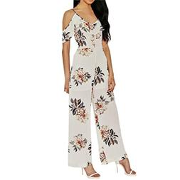 FEITONG Women Strappy Off Shoulder Printed Playsuit Party Cl