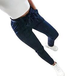 FEITONG Women Striped/Solid High Waist Harem Pants Women Bow