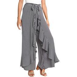 FEITONG Women Summer Striped Wide Leg High Waist Pants Casua