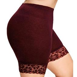 FEITONG Womens Plus Size Mid Waist Lace Elastic Sports Hot S