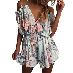 FEITONG Womens Summer Holiday Mini Playsuit Ladies Jumpsuit
