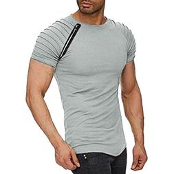 Willsa Men Casual Pure Color Short-Sleeve Folded Round Colla