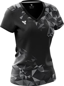 Yang Yang C7D Women's 100% Polyester V Neck Full Print Short