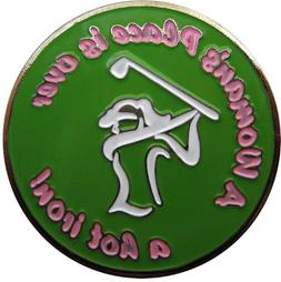 A Woman's Place is Over a Hot Iron Golf Ball Marker with Mat