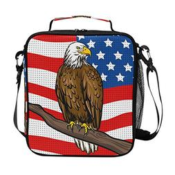 American Flag With Bald Eagle Insulated Lunch Bag Box Cooler