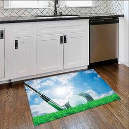 Anti-Static Rugs Sports Golf Ball and Iron Club on Grass and