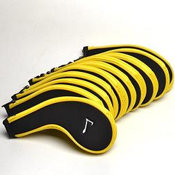 GOOACTION 10pcs Black with Yellow Boundary Golf Iron Club He