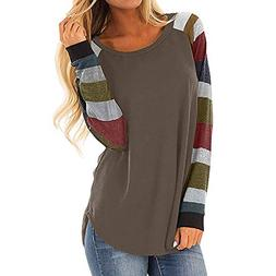 FEITONG Womens Casual Color Block Long Sleeve Pullover Tops