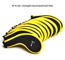 POSMA CC010US Golf Club Head Covers Zippered - Set of 10 - I