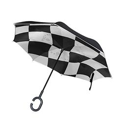 LORVIES Checkered Flag Double Layer Inverted Umbrella Revers