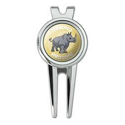 Chubby Unicorn Rhino Rhinoceros Golf Divot Repair Tool and B