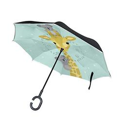 SENWEI Cute Animals Giraffe Koala Inverted Reverse Umbrella