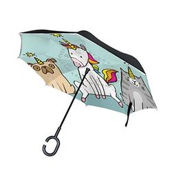 SENWEI Cute Cartoon Unicorn Cat Dog Reverse Umbrella Folding