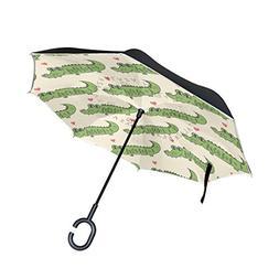 SENWEI Cute Gator Green Crocodile Reverse Umbrella Folding I