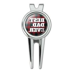 Best Dad Ever Red Black Plaid Golf Divot Repair Tool and Bal