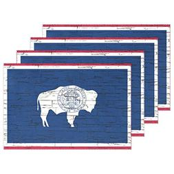 CoolPrintAll Distressed Wyoming State Flag Placemat Table Ma