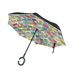 ALAZA Double Layer Inverted Reverse Umbrella Decorative Cats