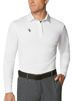 Men's Dry Fit Long Sleeve Polo Golf Shirt, Moisture Wicking