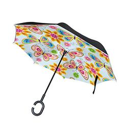 SENWEI Florals Colorful Butterfly Inverted Reverse Umbrella