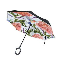 SENWEI Florals with Hummingbird Inverted Reverse Umbrella Wi