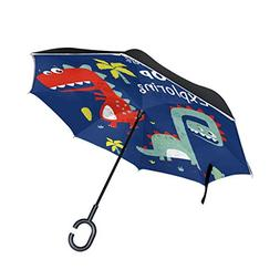 SENWEI Funny Dinosaurs Cute Inverted Reverse Umbrella Windpr