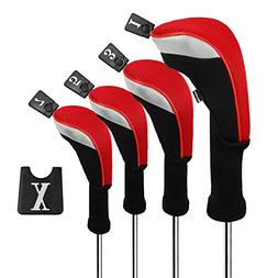 Andux Golf 460cc Driver Wood Head Covers with Long Neck and