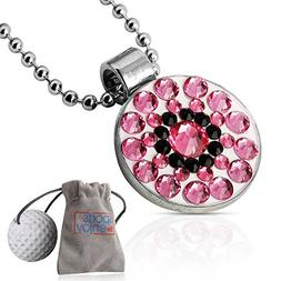 lifetoenjoy Golf Ball Marker Necklace for Women - Bonus: Vel