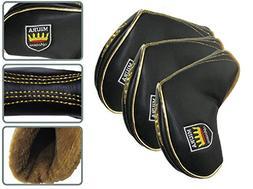 Miura Premium Golf Club Head Cover Iron Cover 10 Pcs Set Bla